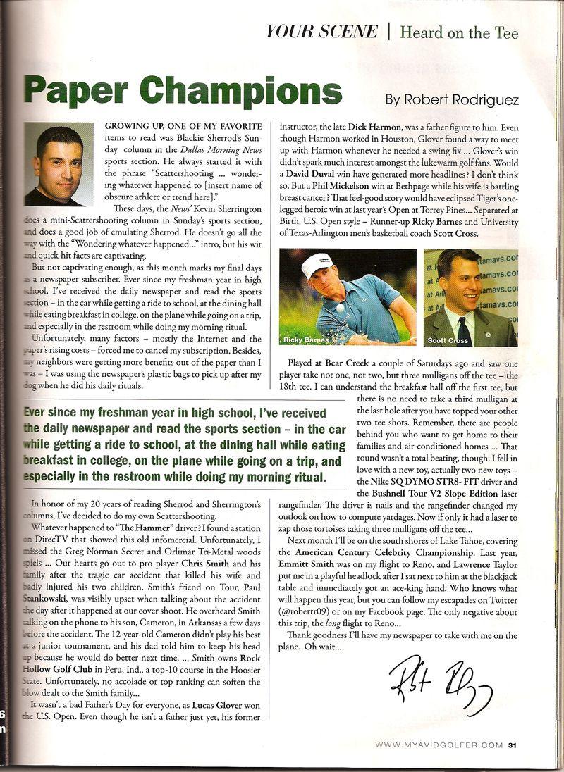 Avid Golfer Magazine Article-Scott